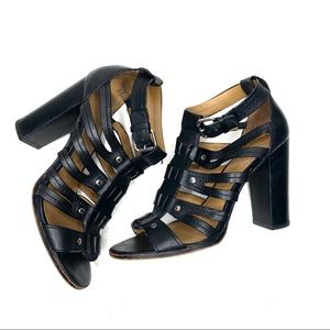 COACH Ginny Gladiator Strappy Heels Black leather
